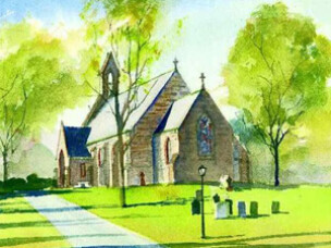 Top left box Church Watercolor